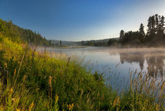 在一条河的日出薄雾在爱达荷 库存照片