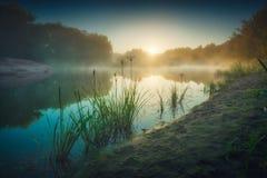 在一条河的早晨雾日出光的  免版税库存图片