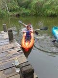 在一条河的皮船在阿根廷 库存图片