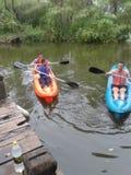 在一条河的皮船在阿根廷 库存照片
