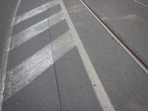 在一条涂柏油的路的空白线路 免版税库存照片