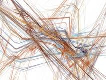 在一条混乱射线桔黄色螺纹的抽象分数维 免版税库存图片