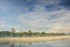 在一条狂放的河的一有薄雾的河岸的早晨 免版税图库摄影