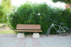 在一条空的长凳旁边的一辆城市街道自行车上 库存照片