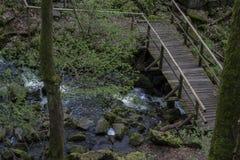 在一条粗砺的流动的小河的木桥 免版税库存照片