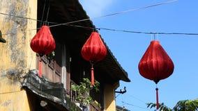 在一条街道上的中国灯笼在会安市在天,越南 股票视频