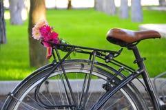 在一条街道的一辆美丽的自行车有绿色背景 免版税库存图片