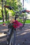 在一条街道的一辆美丽的自行车有绿色背景 免版税库存照片