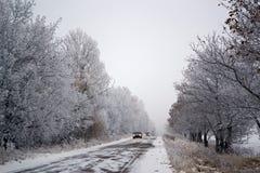 在一条路的汽车乘驾在冬天 库存照片