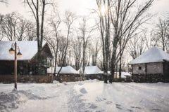 在一条路的降雪在村庄博物馆在布加勒斯特 免版税库存照片