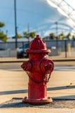 在一条边路的一个红火消防栓在波士顿城市设置的马萨诸塞美国 图库摄影