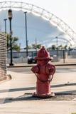 在一条边路的一个红火消防栓在波士顿城市设置的马萨诸塞美国 库存图片