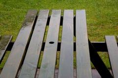 在一条野餐长凳的雨在公园 免版税库存图片