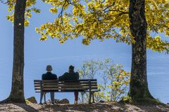 在一条长凳的夫妇在湖滨湖科黑尔在秋天,巴伐利亚,德国 库存照片