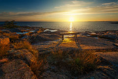在一条长凳的日出在北欧海岸 免版税库存照片