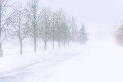 在一条高速公路的雪风暴在白天 免版税库存照片