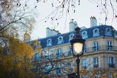 在一条巴黎人街道上的灯笼 免版税库存照片