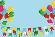 在一条绳索的五颜六色的燕麦粥与气球 旗子诗歌选  库存图片