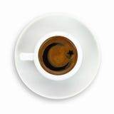 在一杯咖啡的土耳其旗子图画 库存图片