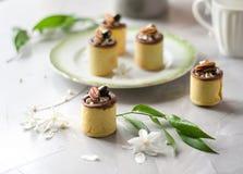 在一杯的蛋糕与奶油和坚果的松脆的糕点 免版税库存图片