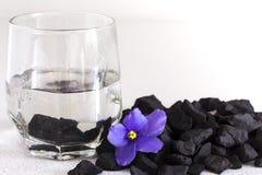在一杯的Shungite石头清洗的和供水的,特写镜头水 免版税库存图片