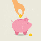 在一枚硬币下的手在存钱罐中 也corel凹道例证向量 免版税库存照片