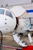 在一架专用喷气机的梯子 库存照片