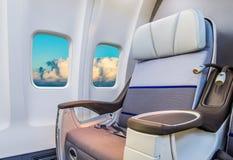 在一架现代飞机的空位 图库摄影
