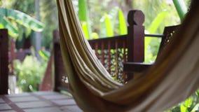在一栋别墅的大阳台的吊床在被弄脏的bokeh的密林从植物 1920x1080 股票视频