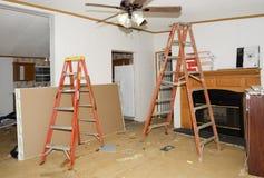 在一栋双重宽活动房屋的内部恢复 库存照片