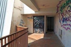 在一栋多层的居民住房的墙壁上的街道画 城市Balashikha,莫斯科地区,俄罗斯 库存图片