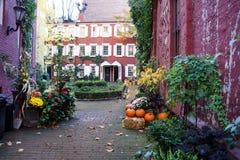 在一栋装门的历史的连栋房屋大厦里面的一个古雅前面庭院 免版税库存照片