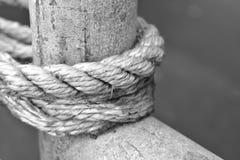 在一根木杆附近被栓的一条白色绳索 免版税库存图片
