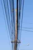 在一根电杆的高压设备 图库摄影