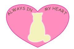 在一桃红色心形的宠物精神在与总是词的白色背景在我的心脏 库存照片