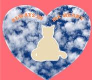 在一桃红色心形的宠物精神在与总是词的白色背景在我的心脏 免版税库存图片