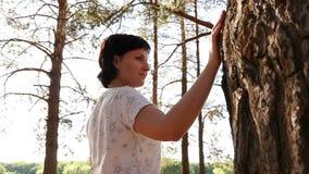 在一棵大树附近的年轻女性旅游步行在一个圈子在照相机在人后移动的森林里 股票录像