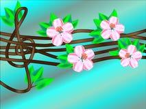 在一棵开花的树的高音谱号 库存图片