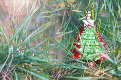 在一棵新年树的分支的圣诞树玩具 免版税库存照片