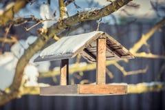 在一棵树的木Birdfeeder在冬天 免版税库存照片