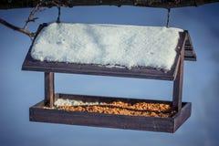 在一棵树的木Birdfeeder在冬天 图库摄影