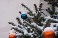 在一棵积雪的云杉的树的橙色和蓝色装饰球 库存照片