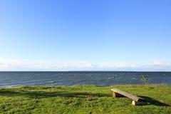 在一棵草的木长凳在海岸 免版税库存图片