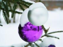 在一棵街道树的紫色和白色圣诞节球在雪下 免版税库存照片