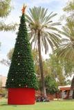 在一棵装饰的圣诞树附近的土著居民在爱丽斯泉,澳大利亚 免版税库存图片