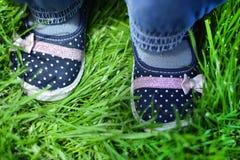 在一棵年轻草的儿童脚 库存照片