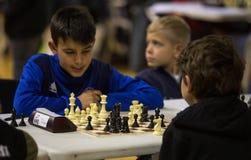 在一次地方比赛期间的年轻下象棋者 库存照片