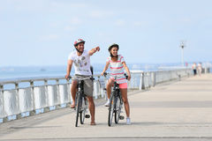在一次骑自行车的旅途上的家庭在海边 库存图片