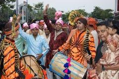 在一点印度的街道的印地安婚礼在新加坡 免版税图库摄影