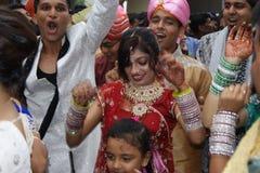 在一点印度的街道的印地安婚礼在新加坡 库存图片